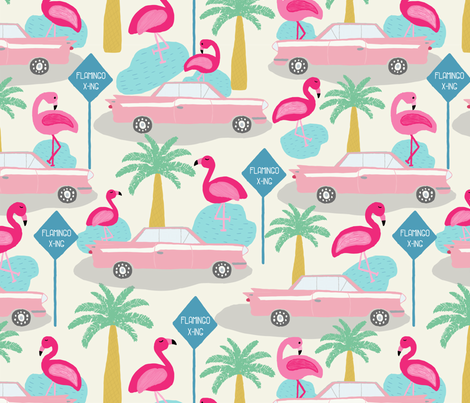 Vintage Pink Cars in Flamingo Crossing fabric by julesmooredesign on Spoonflower - custom fabric