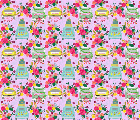 Just Married Wheels Pink fabric by honoluludesign on Spoonflower - custom fabric