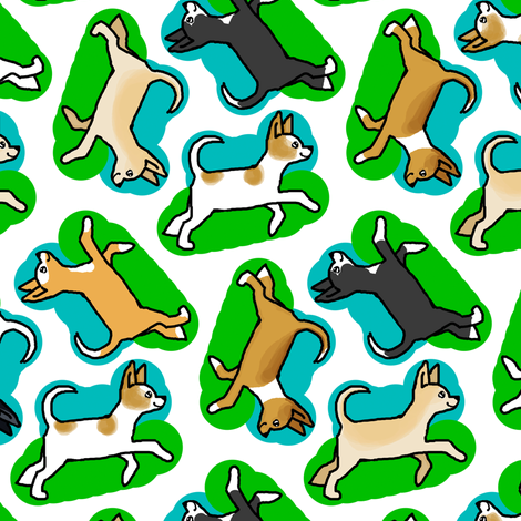 50s Style Chihuahuas in Blue and Green fabric by eclectic_house on Spoonflower - custom fabric