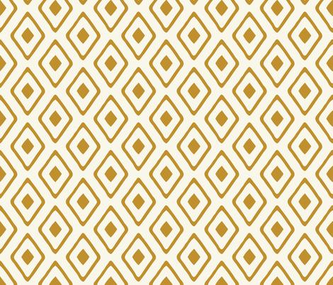 Diamond in Diamond - Dk Caramel, Ivory fabric by fernlesliestudio on Spoonflower - custom fabric