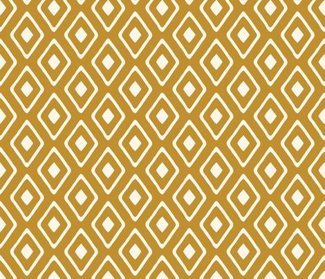 Diamond in Diamond - Ivory, Dark Caramel fabric by fernlesliestudio on Spoonflower - custom fabric