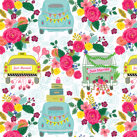 Just Married Celebration Ride fabric by honoluludesign on Spoonflower - custom fabric
