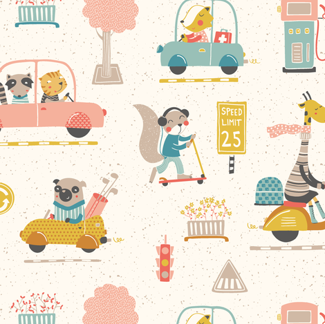 City traffic fabric by martamunte on Spoonflower - custom fabric
