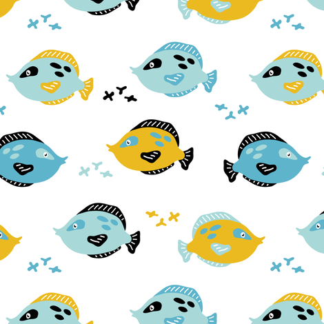Tiny fishes fabric by yuliia_studzinska on Spoonflower - custom fabric