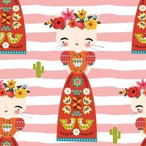 "6"" Kitty Kahlo - Peachy Pink Stripes"