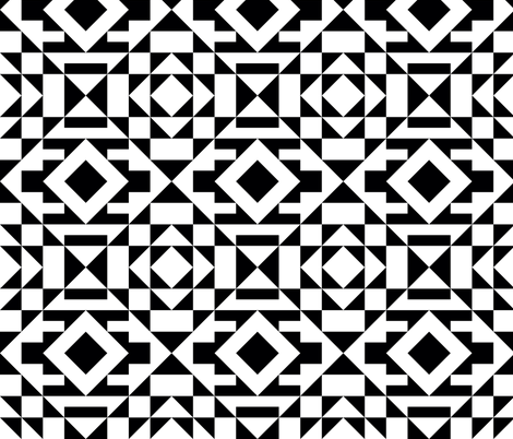 Kilim Bold Black and White fabric by elramsay on Spoonflower - custom fabric