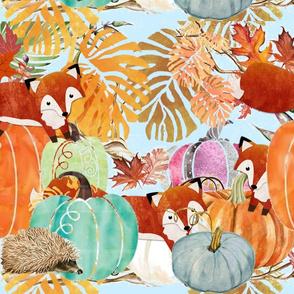 The Fall Fox .The Hedgehog & The Pumpkins