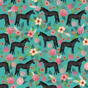 Horse black coat floral flowers horses fabric teal