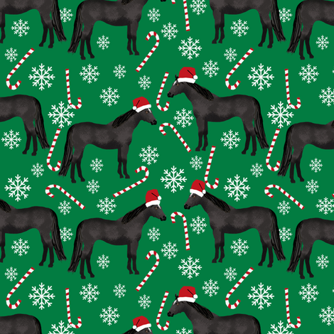 Horse black coat peppermint christmas holiday horses fabric green fabric by petfriendly on Spoonflower - custom fabric