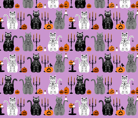 Day of Dead Cats - multi fabric by lauriewisbrun on Spoonflower - custom fabric
