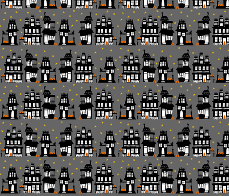Halloween Houses fabric by lauriewisbrun on Spoonflower - custom fabric