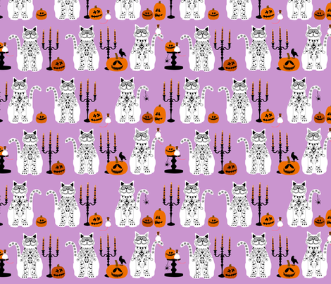 Day of Dead Cats - white fabric by lauriewisbrun on Spoonflower - custom fabric