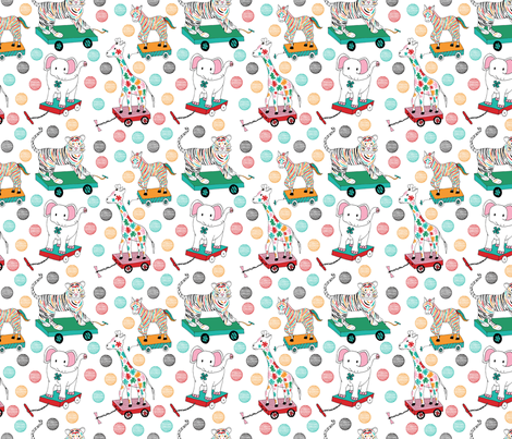 Animal pull toys, small fabric by palifino on Spoonflower - custom fabric