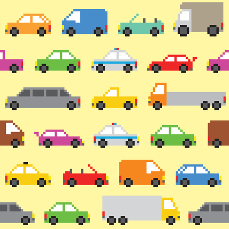 Pixel art cars fabric by dmitriylo on Spoonflower - custom fabric