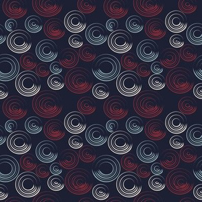 Blue and Red Circular Strokes On Dark Blue