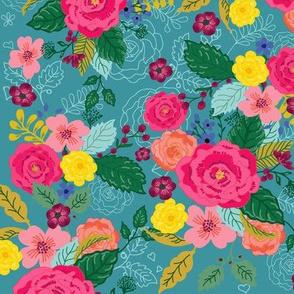 Floral Bouquet Slate Blue