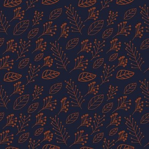 Rust leaves and branches on dark blue