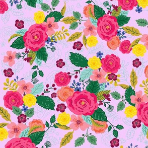Floral Bouquet pink background