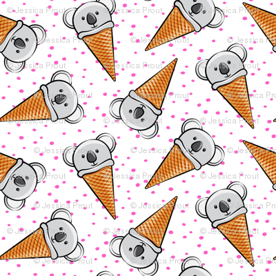 koala icecream cones - pink dots