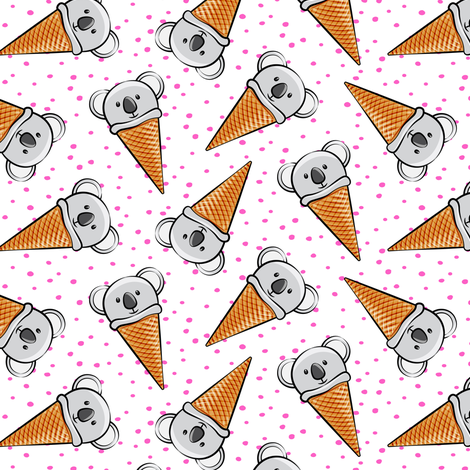 koala icecream cones - pink dots fabric by littlearrowdesign on Spoonflower - custom fabric