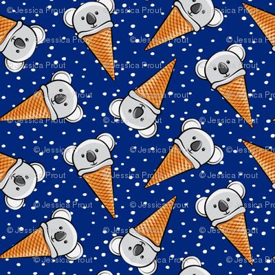 koala icecream cones - blue with dots