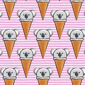 koala icecream cones - pink stripes