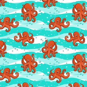 Orange octopuses on the background of sea waves.
