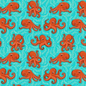 Fun orange octopus, algae on turquoise background.