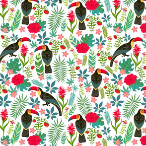 Decorative pattern with toucans, tropical flowers and leaves