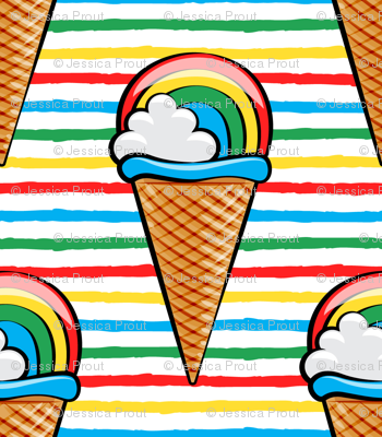 """(3/4"""" scale) rainbow icecream cones on rainbow stripes C18BS"""