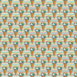 "(3/4"" scale) rainbow icecream cones on rainbow stripes C18BS"
