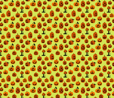 Pumpkins Green fabric by lauriewisbrun on Spoonflower - custom fabric