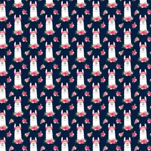 (small scale) floral llama - spring colors on navy C18BS