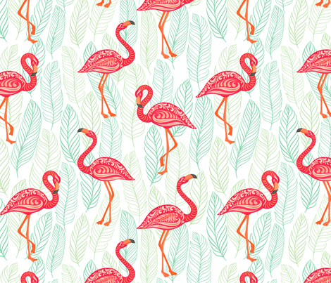 Pink flamingos decorated with ornaments on blue patterned background. fabric by irina_skaska on Spoonflower - custom fabric