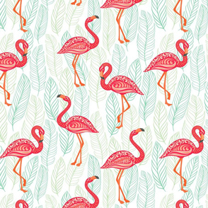 Pink flamingos decorated with ornaments on blue patterned background.