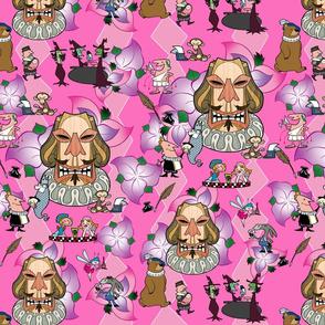 shakespeare tiki fabric pink