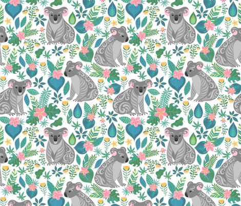 Cute grey koalas with ornaments, tropical flowers and leaves.  fabric by irina_skaska on Spoonflower - custom fabric
