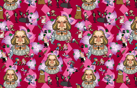 shakespeare tiki fabric claret fabric by lartist on Spoonflower - custom fabric
