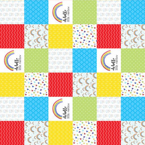 3 inch Oh Hello little Rainbow/Rainbow Baby - Wholecloth Cheater Quilt - Rotated