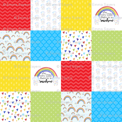 After Every Storm, There is a rainbow - Wholecloth Cheater Quilt