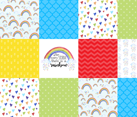 After Every Storm, There is a rainbow - Wholecloth Cheater Quilt  fabric by longdogcustomdesigns on Spoonflower - custom fabric