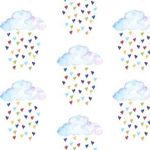 Clouds Raining Rainbow Hearts - One White