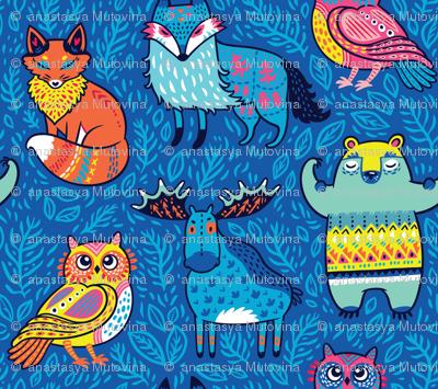Forest animals in blue