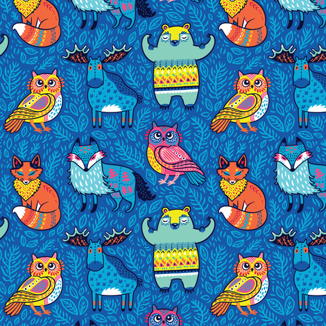 Forest animals in blue fabric by penguinhouse on Spoonflower - custom fabric