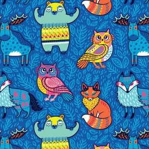 Forest animals in blue