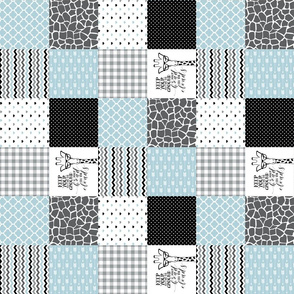3 inch Hipster Giraffe - Blue - Wholecloth Cheater Quilt - Rotated