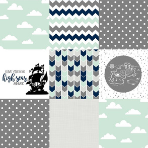 Pirate//Love you to the high seas - Wholecloth Cheater Quilt
