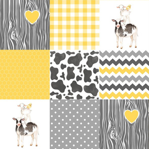 Farm//Love you till the cows come home - yellow - Wholecloth Cheater Quilt