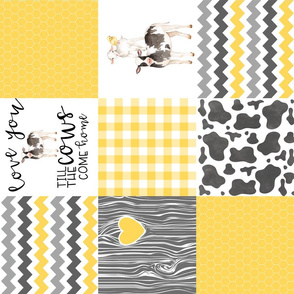 Farm//Love you till the cows come home - yellow - wholecloth Cheater Quilt - Rotated