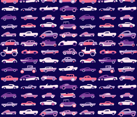 Classic Cars - Eggplant fabric by nicebutton on Spoonflower - custom fabric